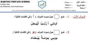 ورق عمل الألف والباء لغة عربية صف أول فصل أول