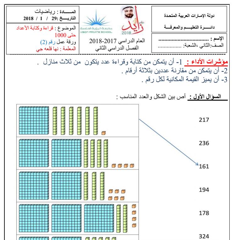 Photo of ورقة عمل رياضيات الصف الثاني الفصل الثاني 2017-2018