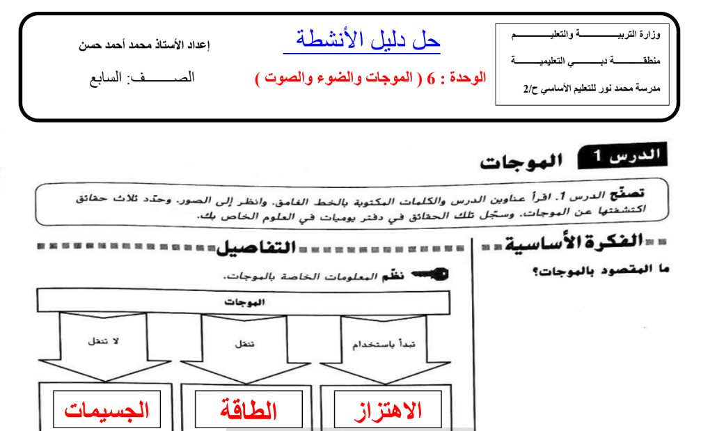 Photo of حل دليل الانشطة علوم الصف السابع الفصل الثاني الوحدة السادسة