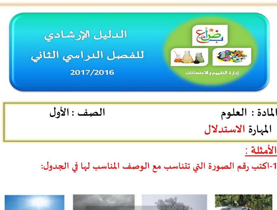 Photo of الدليل الارشادي لمادة العلوم الصف الاول الفصل الثاني