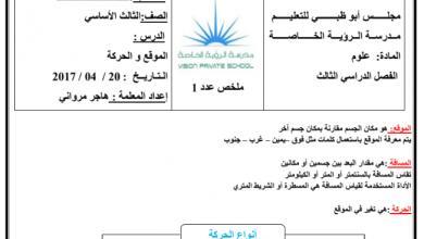 Photo of ورق عمل الموقع والحركة علوم صف ثالث فصل ثالث