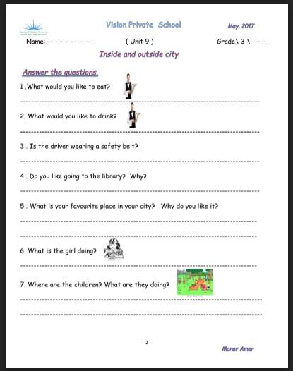 مراجعة الوحدة 9 لغة انجليزية صف ثالث فصل ثالث