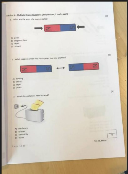 امتحان نهاية الفصل الثالث 2018 علوم صف ثالث منهج إنجليزي