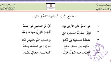 Photo of صف ثاني عشر فصل ثاني لغة عربية تحليل وشرح نثر الجو برد