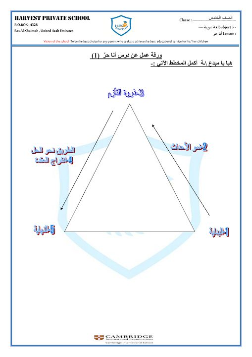 Photo of صف خامس فصل ثاني ورق عمل درس انا حر مع الأجوبة لغة عربية