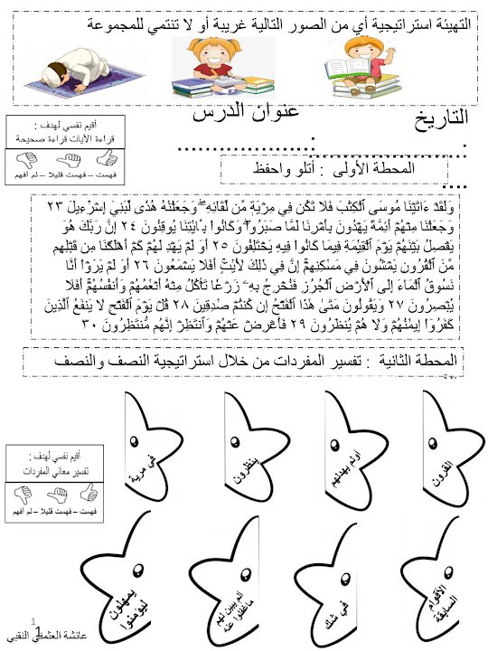 Photo of صف سادس فصل ثاني تربية إسلامية ورق عمل الصبر واليقين