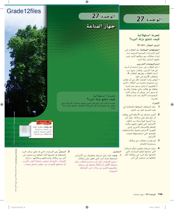 Photo of صف حادي عشر متقدم فصل ثاني دليل أحياء جهاز المناعة