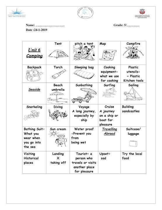 Photo of صف خامس فصل ثاني مفردات الوحدة السادسة لغة إنجليزية