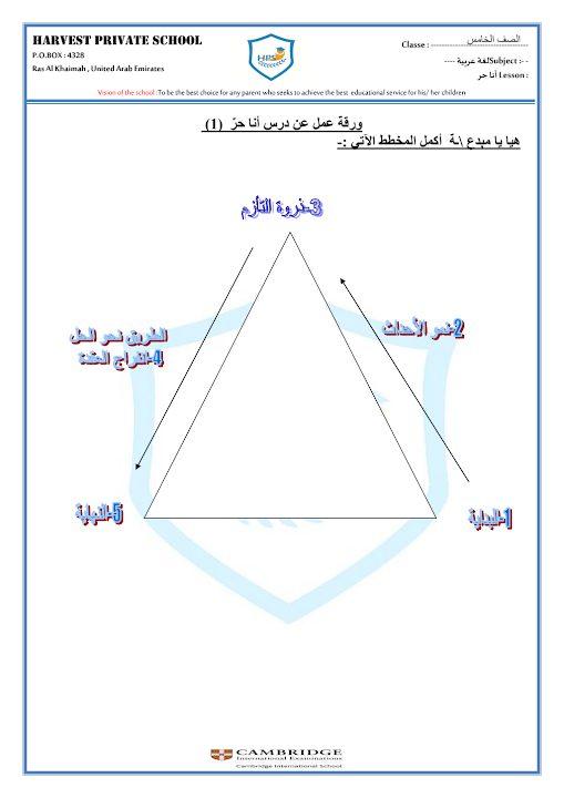 Photo of ورقة عمل 3 درس أنا حر لغة عربية صف خامس فصل ثاني