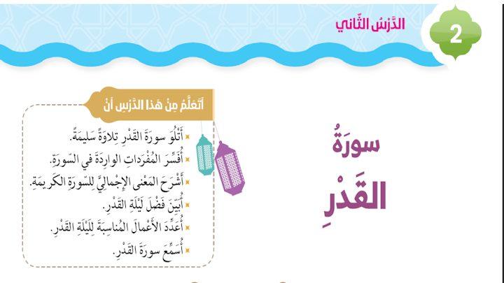 Photo of صف رابع فصل ثاني حلول درس سورة القدر تربية إسلامية