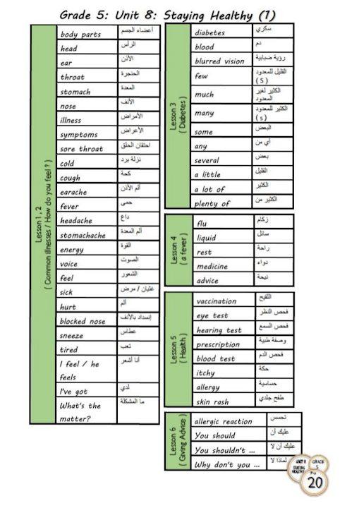 Photo of صف خامس فصل ثاني لغة إنجليزية مفردات الوحدة الثامنة