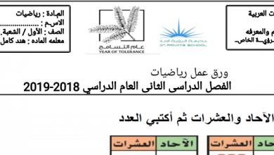 Photo of صف أول فصل ثاني رياضيات اوراق عمل الآحاد والعشرات
