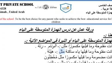Photo of صف خامس فصل ثاني أوراق عمل لغة عربية  الهمزة المتوسطة على ياء