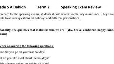 Photo of مراجعة لامتحان التحدث لغة إنجليزية صف خامس فصل ثاني