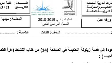 Photo of ورقة عمل قصة زيتونة الحكيمة لغة عربية صف ثالث فصل ثاني