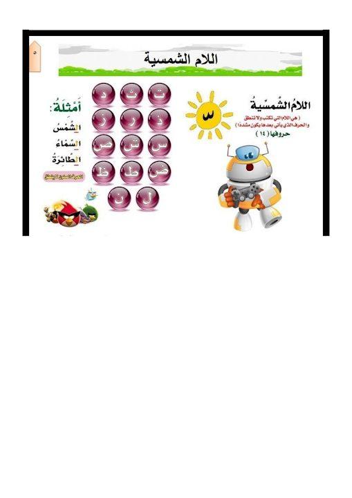 Photo of شرح اللام الشمسية والقمرية لغة عربية صف ثاني فصل ثاني