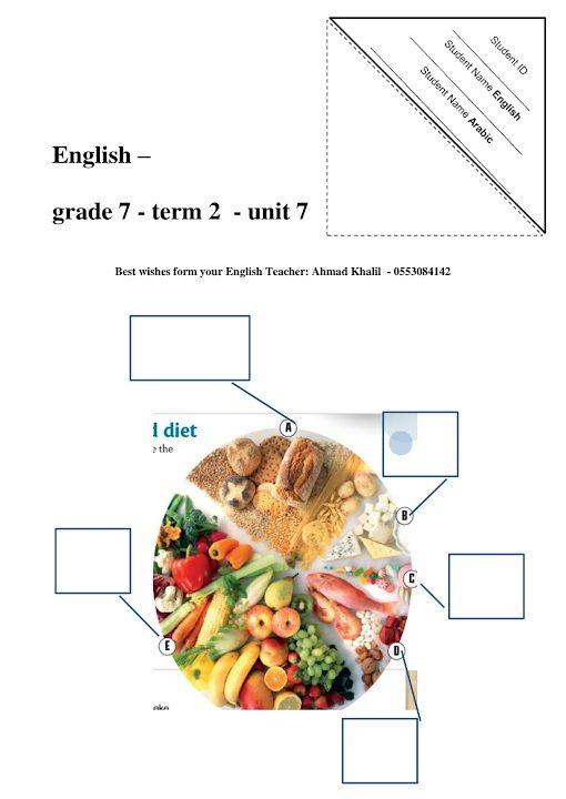 Photo of صف سابع فصل ثاني نموذج امتحان في الوحدة السابعة لغة إنجليزية
