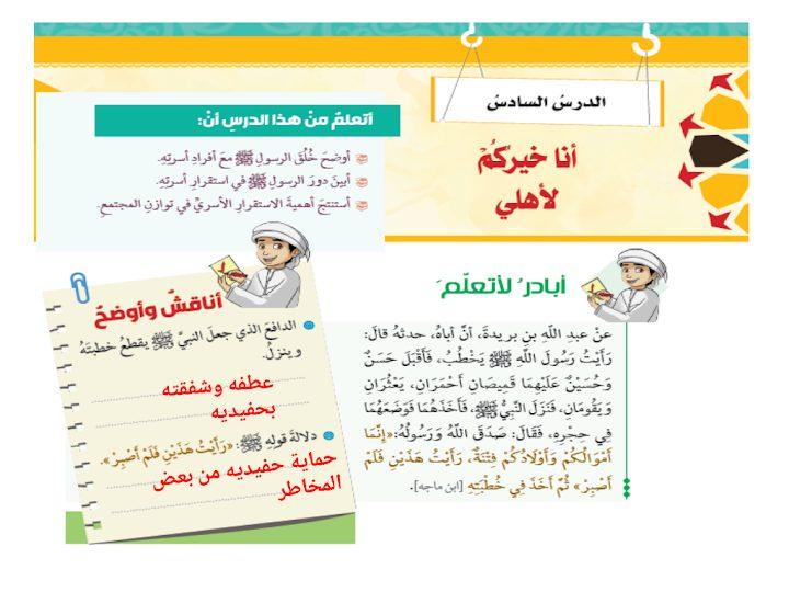 Photo of صف ثامن فصل ثاني تربية إسلامية حل درس أنا خيركم لأهلي