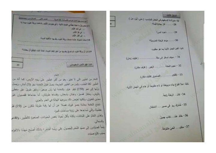 Photo of صف ثاني اللغة العربية امتحان نهاية الفصل الثاني 2018