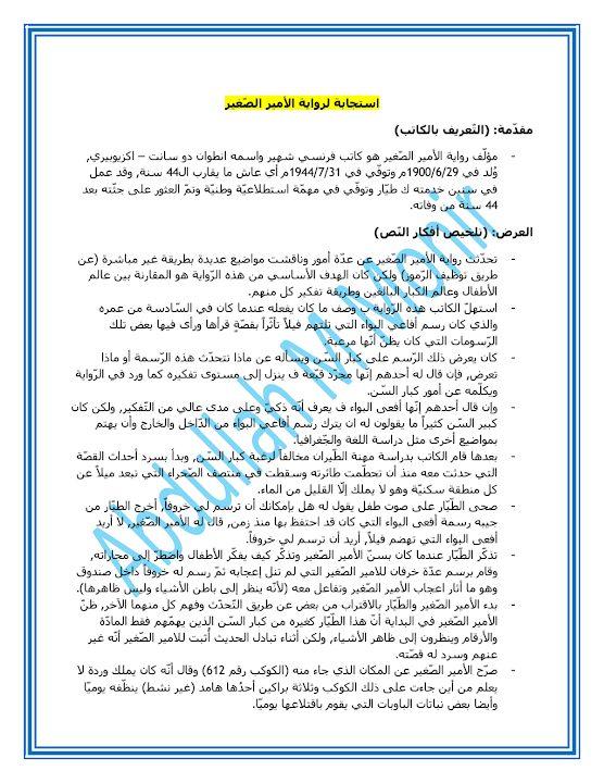 Photo of صف ثاني عشر فصل ثاني لغة عربية استجابة أدبية لرواية الأمير الصغير