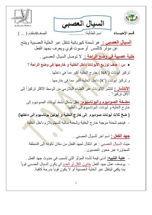 Photo of أحياء صف تاسع متقدم فصل ثاني ملخص السيال العصبي