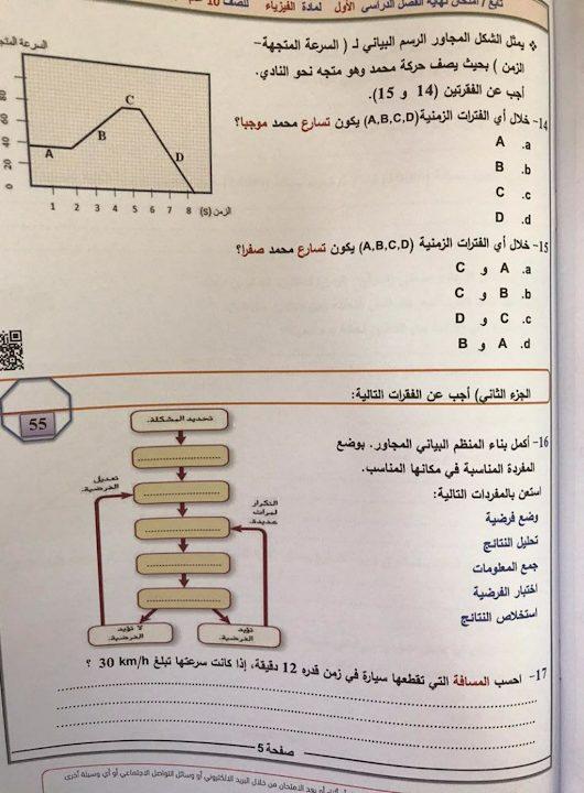 Photo of صف عاشر عام امتحان فيزياء نهاية الفصل الأول لعام 2018