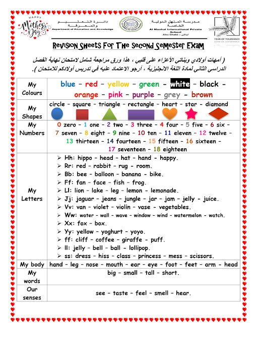 Photo of صف أول مراجعة شاملة ونهائية لكل مفردات الفصل الثاني لغة إنجليزية