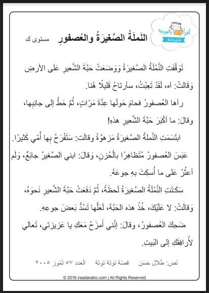 تدريبات فهم المقروء (قطعة وعليها أسئلة) لغة عربية صف ثالث فصل ثالث
