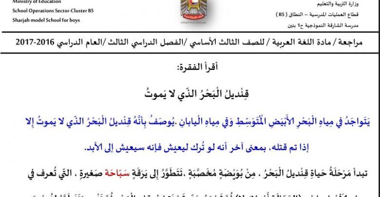 تدريبات تهيئة لامتحان الكتابة لغة عربية صف ثالث فصل ثالث