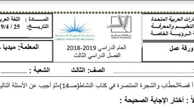 Photo of ورق عمل قصة الحطاب والشجرة المنتصرة لغة عربية صف ثالث فصل ثالث