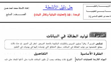 Photo of صف سابع فصل ثالث حلول علوم دليل الأنشطة الوحدة العاشرة