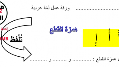 Photo of ورق عمل همزة الوصل والقطع لغة عربية صف ثالث فصل ثالث