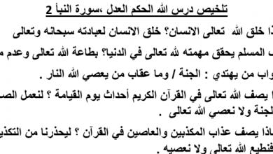 Photo of ملخص درس الله الحكم العدل تربية إسلامية صف خامس فصل ثالث