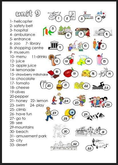 مفردات الوحدة 9 لغة إنجليزية صف ثالث فصل ثالث
