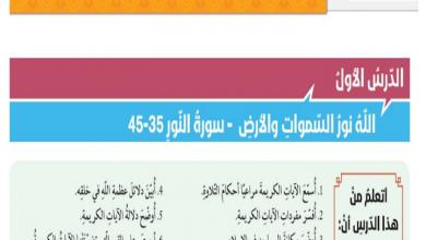 Photo of حل درس الله نور السموات والأرض تربية إسلامية