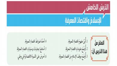 Photo of صف ثاني عشر فصل ثالث دين إجابة درس الإسلام واقتصاد المعرفة