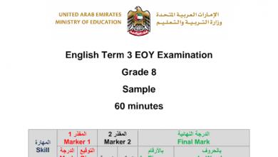 Photo of نموذج امتحان لغة إنجليزية صف ثامن فصل ثالث