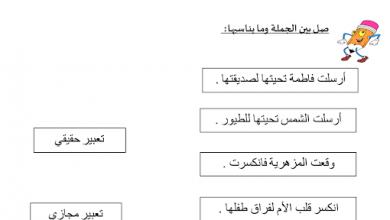 Photo of ورقة عمل التعبير الحقيقي والمجازي لغة عربية صف ثالث فصل ثالث