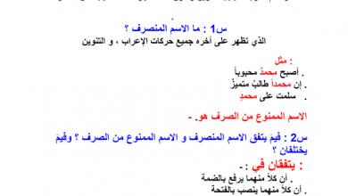 Photo of تلخيص درس الممنوع من الصرف لغة عربية صف تاسع فصل ثالث