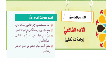 Photo of اجابة درس الامام الشافعي لمادة التربية الإسلامية الصف الثامن