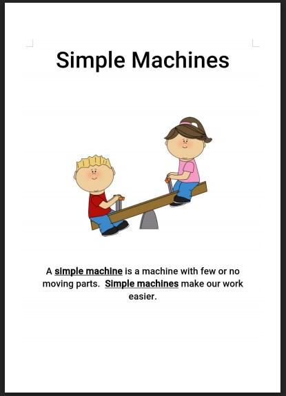ملخص الآلات البسيطة علوم منهج إنجليزي صف ثالث فصل ثالث