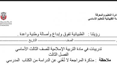 Photo of مراجعة شاملة تربية إسلامية صف ثالث فصل ثالث