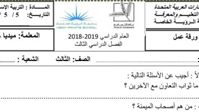 Photo of أوراق عمل تربية إسلامية صف ثالث فصل ثالث