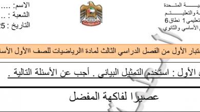 Photo of اختبار تقويمي أول رياضيات صف أول فصل ثالث