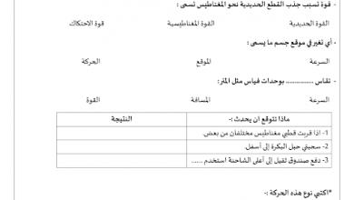 Photo of أوراق عمل القوة والحركة علوم صف ثالث فصل ثالث