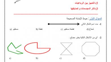 Photo of اوراق عمل درس الهندسة رياضيات صف ثالث فصل ثالث