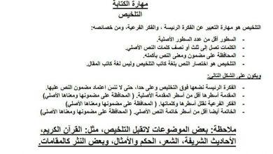 Photo of تلخيص لمهارة الكتابة لغة عربية صف ثالث