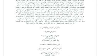 Photo of استجابة أدبية قصيدة إلى أمي لغة عربية صف ثاني عشر فصل ثالث