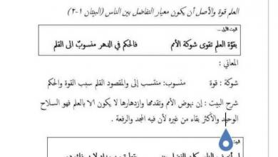 Photo of شرح قصيدة قوة العلم لغة عربية صف سابع فصل ثاني