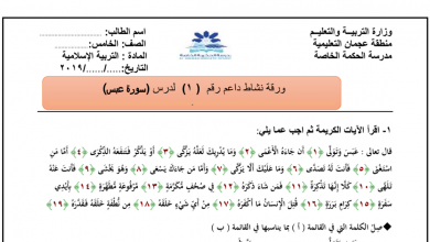 Photo of ورقة عمل سورة عبس تربية إسلامية صف خامس فصل ثاني